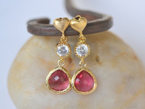 Sweet Gold Heart and Ruby Red Teardrop