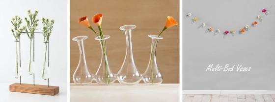 Anthropologie Horizontal Chemist Vase, CB2 4-some bud vase, Urban Outfitters Bud Vase Garland