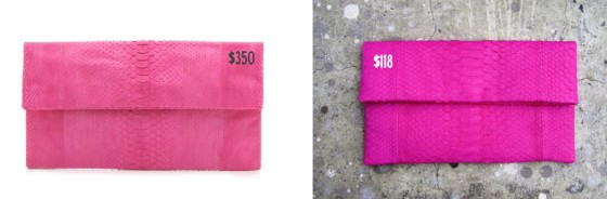 Pink Snakeskin Foldover Clutches: Primary and linmade