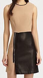 3.1 Phillip Lim Leather-Paneled Wool-Blend Dress