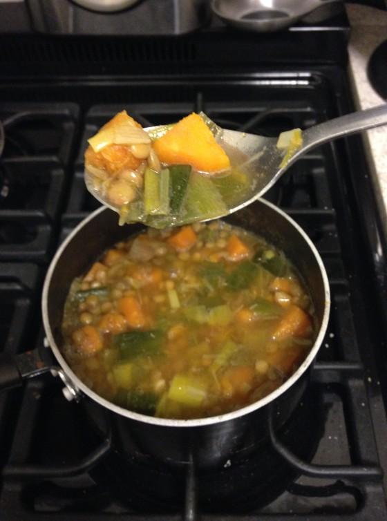 Butternut Squash, Lentil & Leek Soup